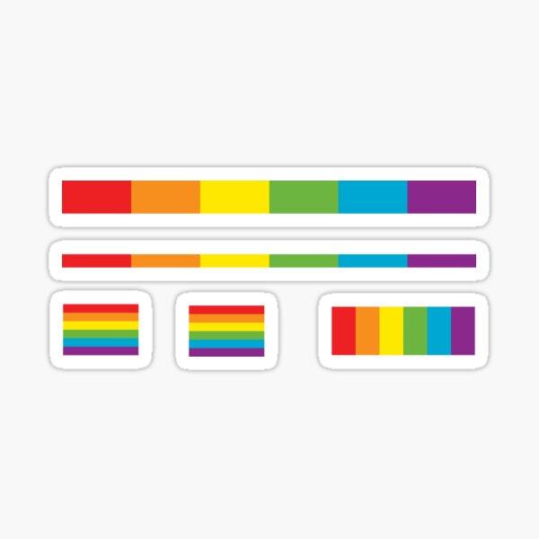 LGBT thin subtle modern rainbow flag on black Gay Lesbian Bisexual Pride  Sticker