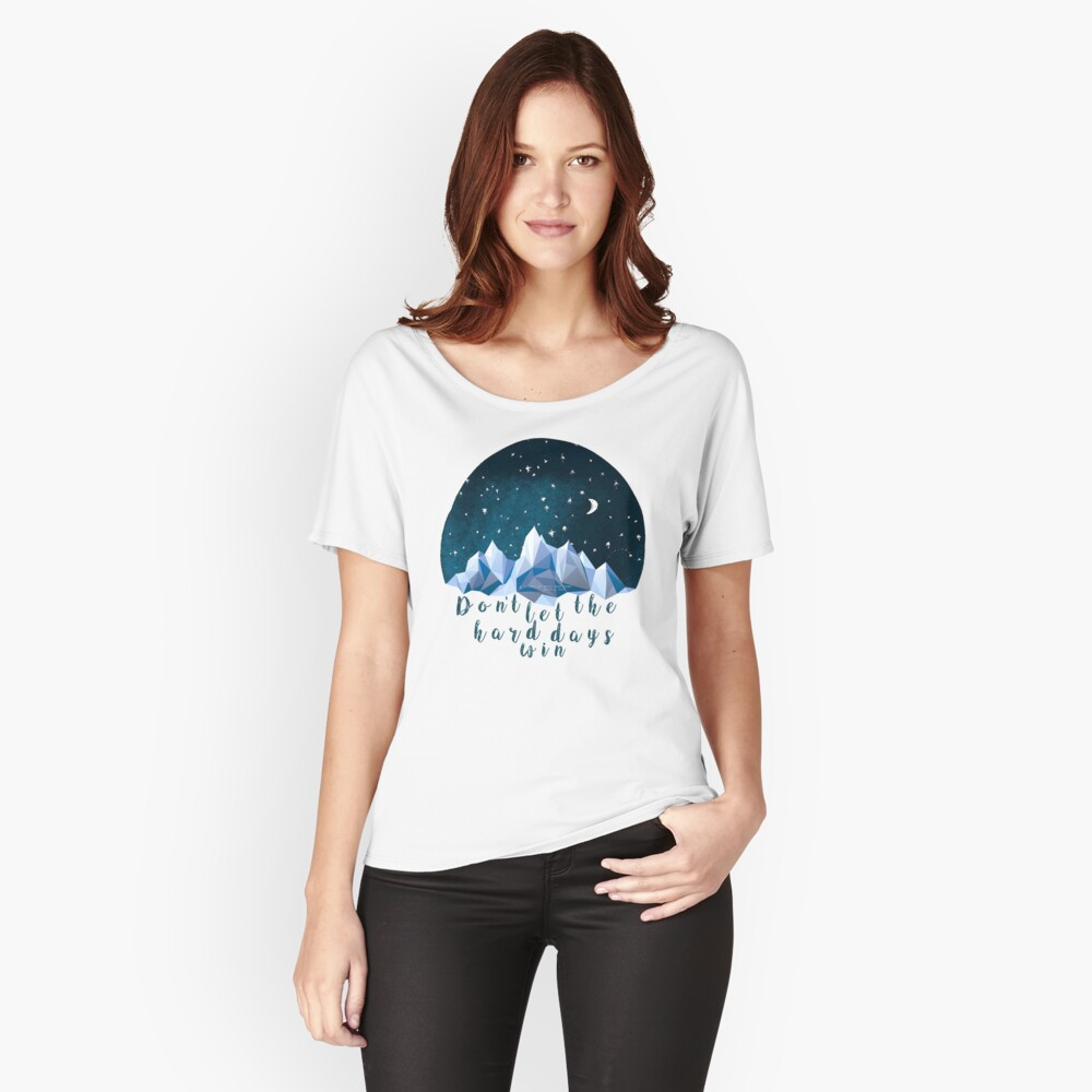 DON'T LET THE HARD DAYS WIN (geometric watercolor) Relaxed Fit T-Shirt