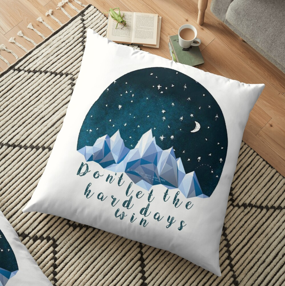 DON'T LET THE HARD DAYS WIN (geometric watercolor) Floor Pillow