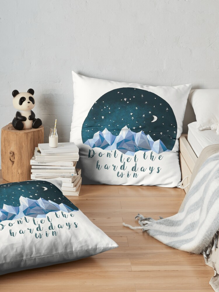 Alternate view of DON'T LET THE HARD DAYS WIN (geometric watercolor) Floor Pillow