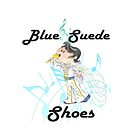 Elvis Presley caricature in blue suede shoes ready to rock n roll illustration by CindyDs
