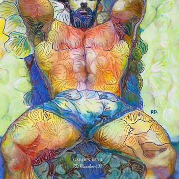Garden Bear by RD Riccoboni - Naughty Boy Painting  by RDRiccoboni