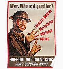 Krieg. Für wen ist es gut? Poster