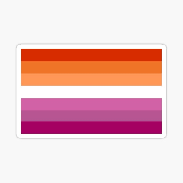 Orange - Magenta Lines // Lesbian Pride Flag // Butch Femme Pride Flag Sticker