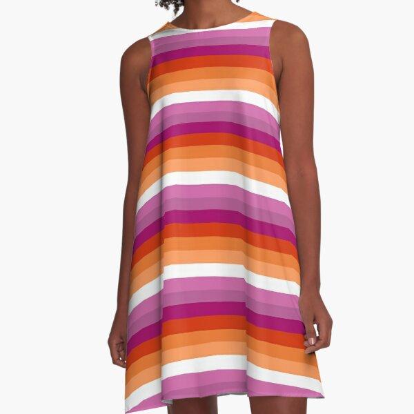 Orange - Magenta Lines // Lesbian Pride Flag // Butch Femme Pride Flag A-Line Dress