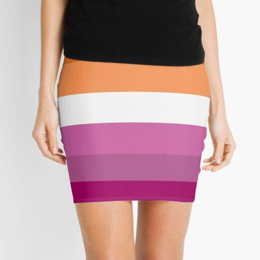 Orange - Magenta Lines // Lesbian Pride Flag // Butch Femme Pride Flag Mini Skirt