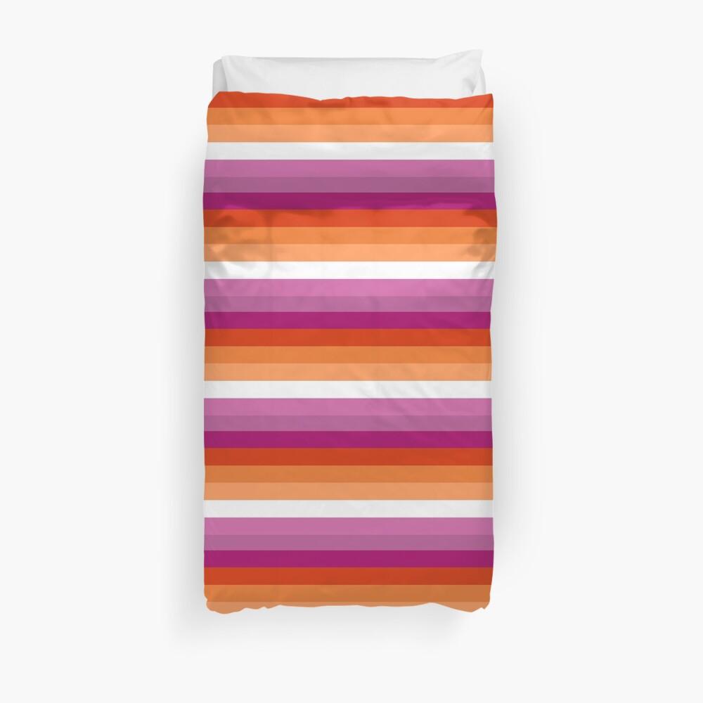 Orange - Magenta Linien // Lesben Pride Flag // Butch Femme Pride Flagge Bettbezug