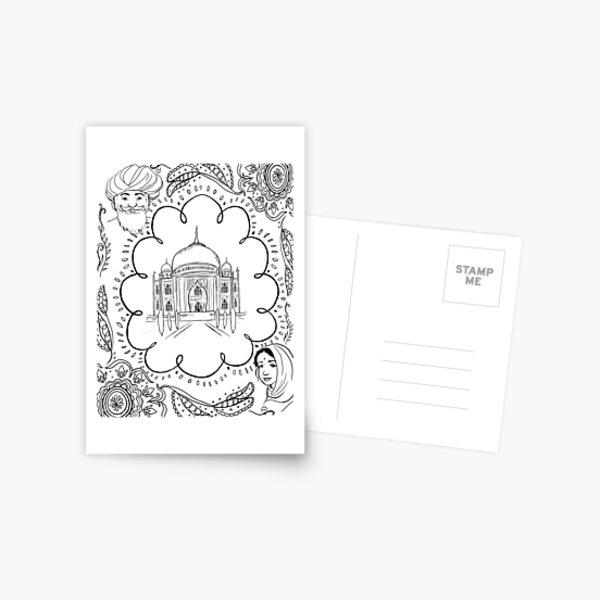 India Taj Mahal Design Postcard