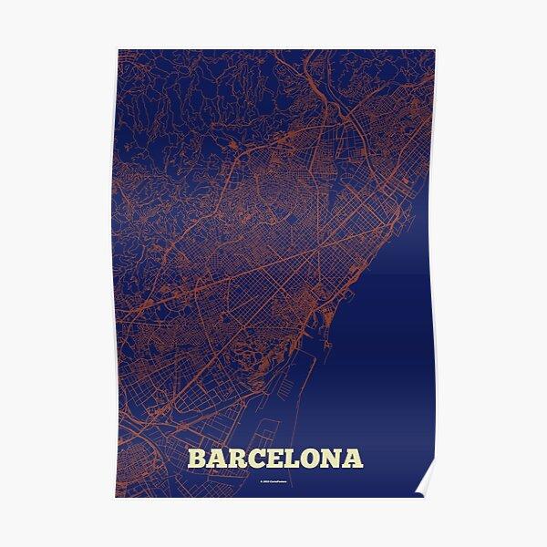 Barcelona Straßen Karte Poster