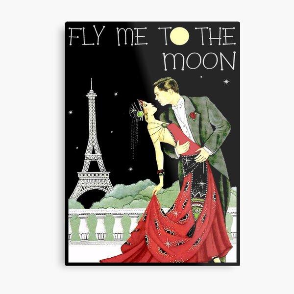 FLY ME TO THE MOON; Vintage Dance Print Metal Print