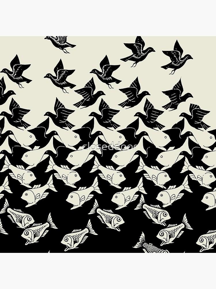 Fisch und Vögel Art Deco Tessellation von closeddoor