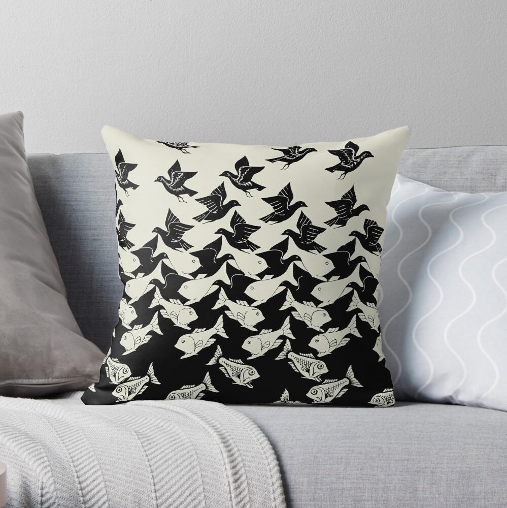 Fisch und Vögel Art Deco Tessellation Dekokissen