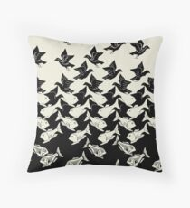 Fish and Birds Art Deco Tessellation Throw Pillow