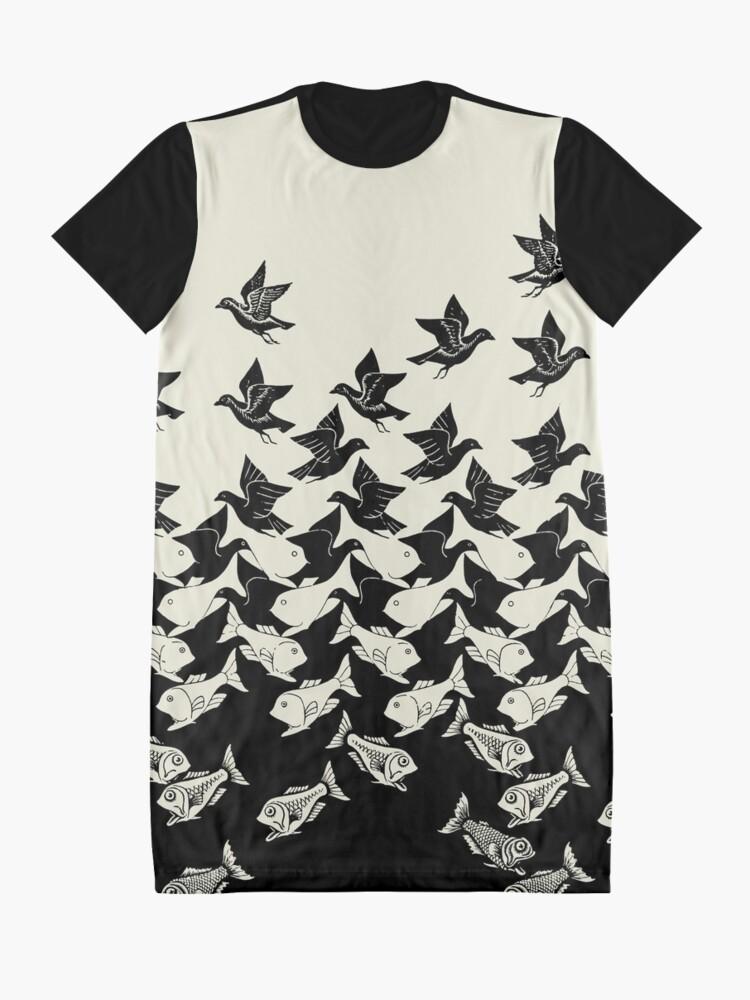 Alternate view of Fish and Birds Art Deco Tessellation Graphic T-Shirt Dress