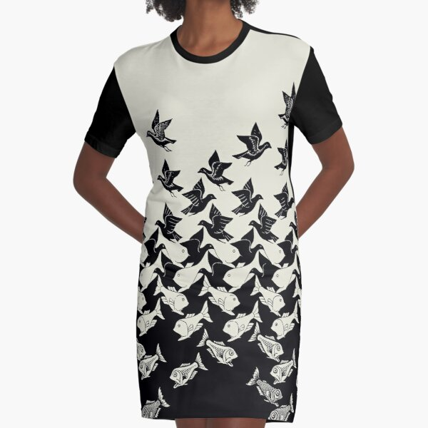 Fish and Birds Art Deco Tessellation Graphic T-Shirt Dress
