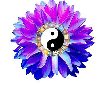 Yin Yang Blue Dahlia Flower by smm2276