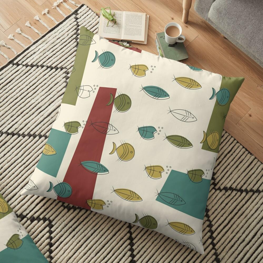 Midcentury Modern Fish Floor Pillow