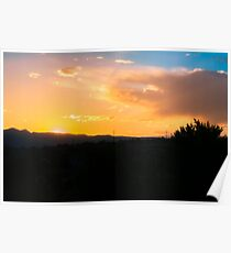 Sunset Over the Rocky Mountains Poster