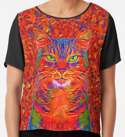 Red Cat Chiffon Top