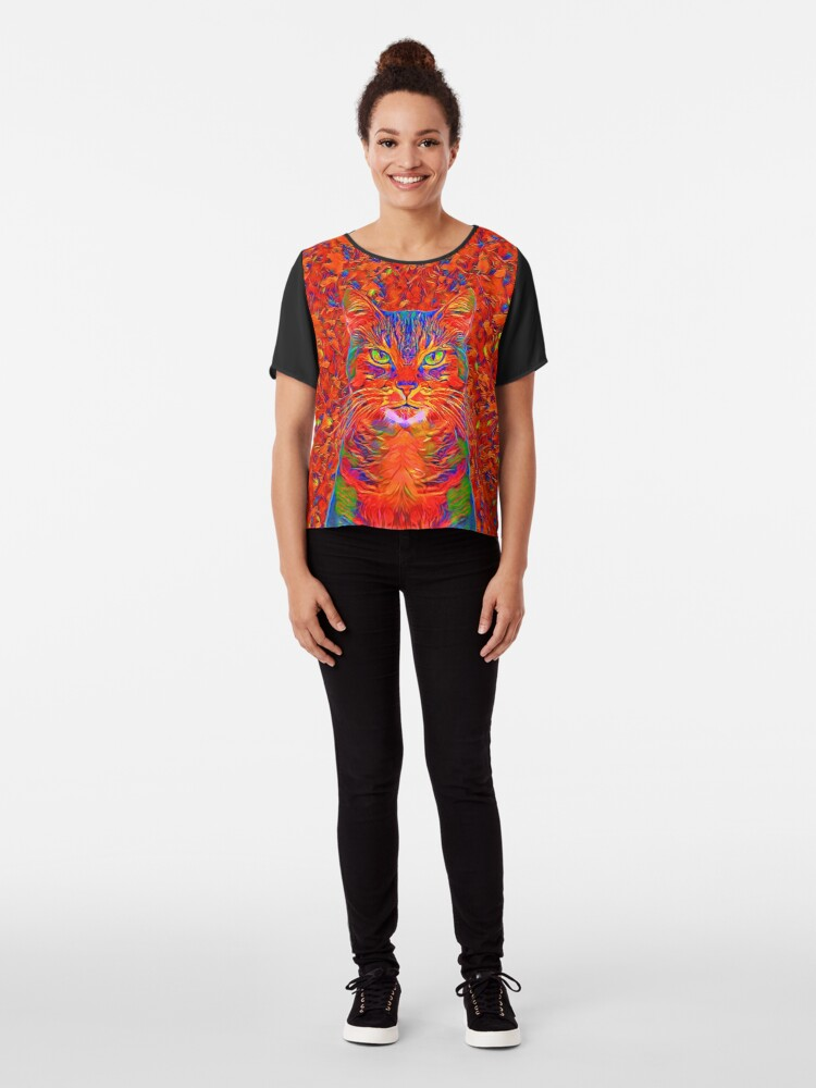 Alternate view of Red Cat Chiffon Top