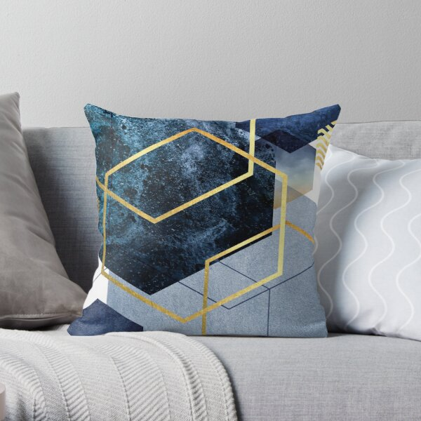 Navy and Gold Geo Throw Pillow