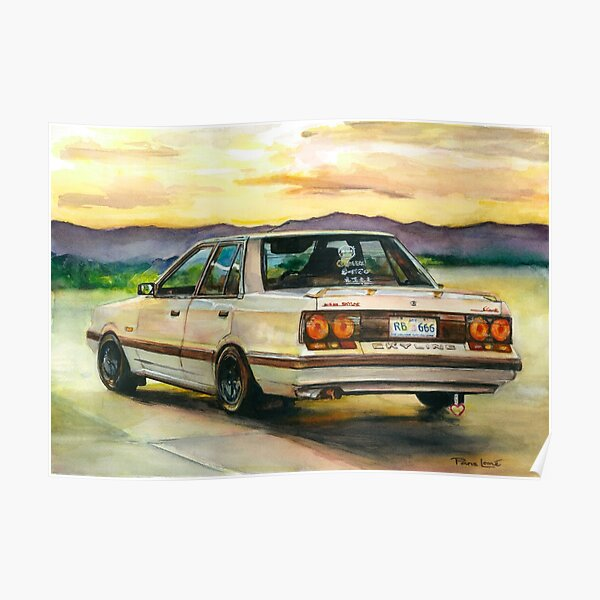 Nissan Skyline Watercolour Painting by Paris Lomé Poster