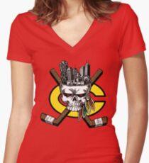 Go Chicago Skyline Women's Fitted V-Neck T-Shirt