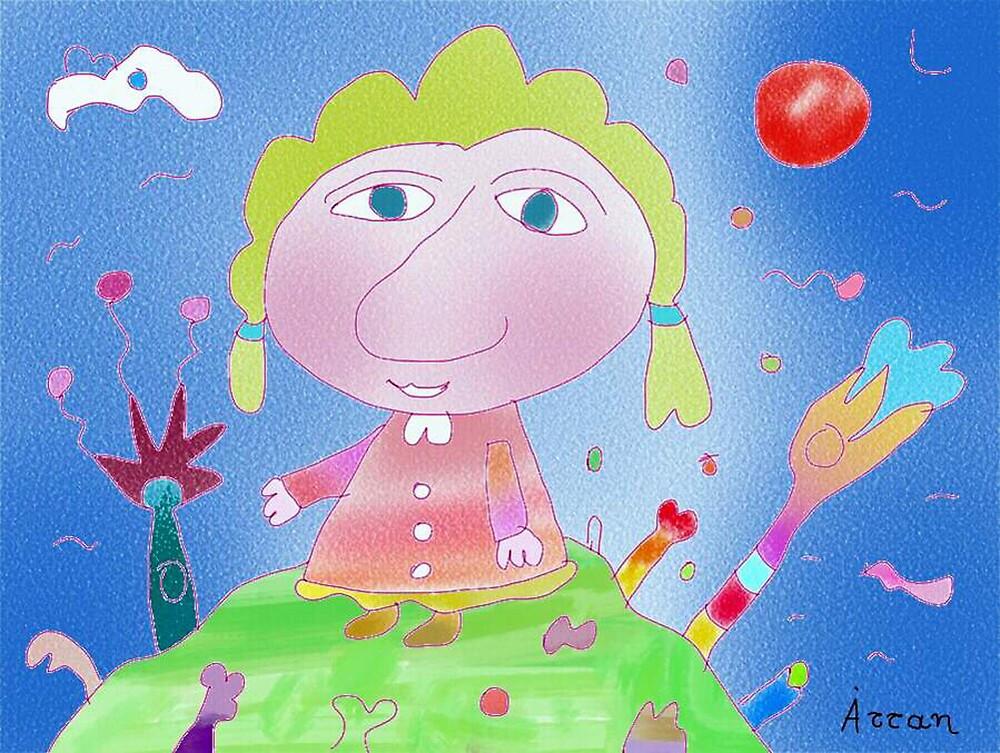 """Girl on hill""-Children Colorful Fantasy Stories by John Kalokyris (Arran)"