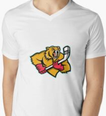 Saber Toothed Cat Ice Hockey Mascot Men's V-Neck T-Shirt