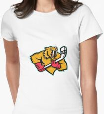 Saber Toothed Cat Ice Hockey Mascot Women's Fitted T-Shirt