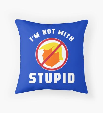 Not With Stupid Trump Floor Pillow
