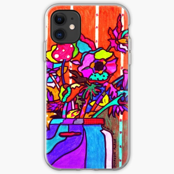 glass jar of flowers line art iPhone Soft Case
