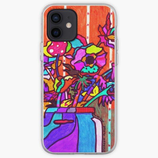glass jar of flowers line art iPhone Soft Case