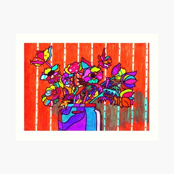 glass jar of flowers line art Art Print