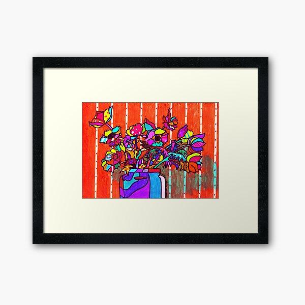 glass jar of flowers line art Framed Art Print