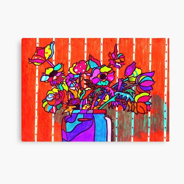 glass jar of flowers line art Canvas Print