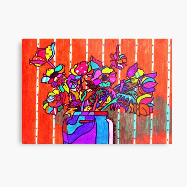glass jar of flowers line art Metal Print