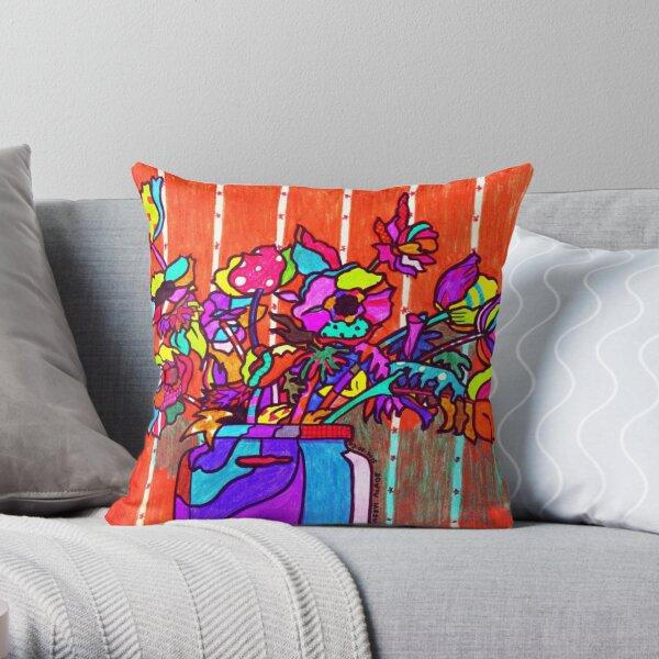 glass jar of flowers line art Throw Pillow