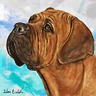 Painting of a Gorgeous Brown Boxer on Light Blue Background by ibadishi