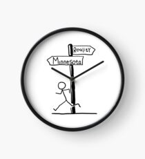 "Funny ""Minnesota vs Reality"" Signpost Themed Design Clock"