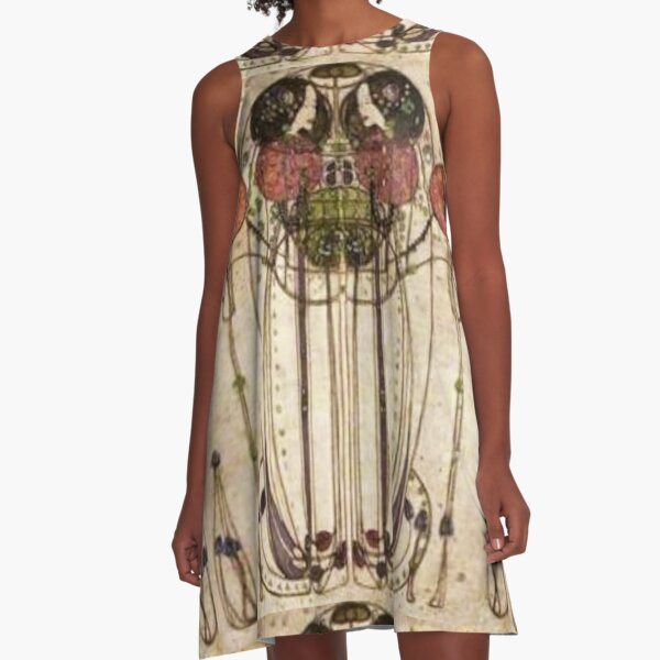 Charles Rennie Mackintosh, The Wassail 1900  (Detail, Crop). A-Line Dress