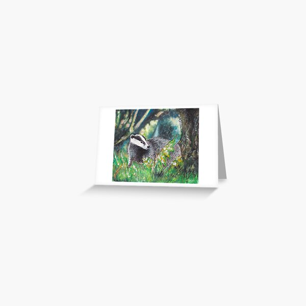 Badger in Forest Greeting Card