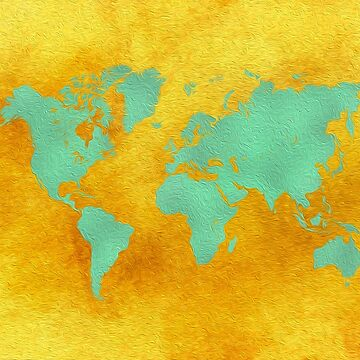 world map gold green #worldmap #map by JBJart