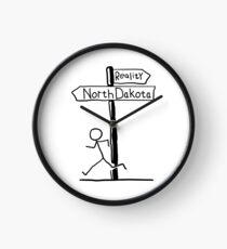 "Funny ""North Dakota vs Reality"" Signpost Themed Design Clock"