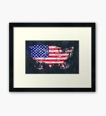 United States of America map artwork painting illustration Framed Print