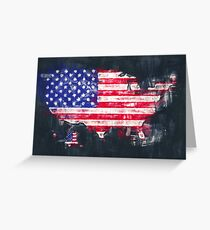 United States of America map artwork painting illustration Greeting Card