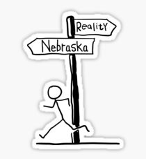 "Funny ""Nebraska vs Reality"" Signpost Themed Design Sticker"