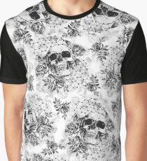 Floral Skull Pattern Graphic T-Shirt