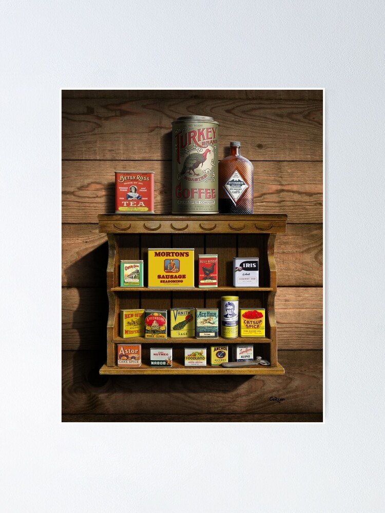 Old Fashioned Spice Rack and Spice Tins, spice Vintage Spice Tins,  Nostalgic Spice Cans Art, Americana Kitchen Decor | Poster
