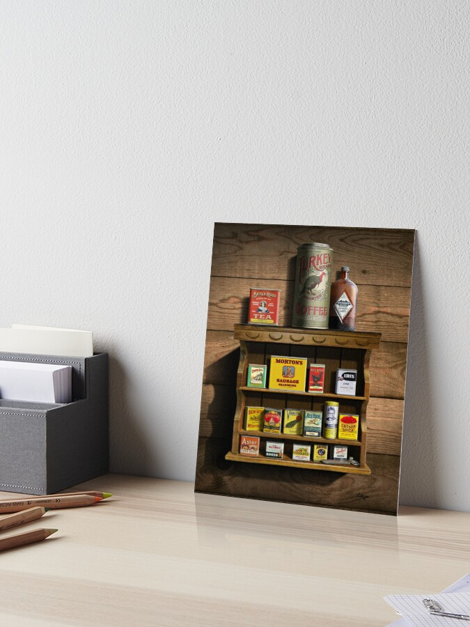 \'Old Fashioned Spice Rack and Spice Tins, spice Vintage Spice Tins,  Nostalgic Spice Cans Art, Americana Kitchen Decor \' Art Board Print by Walt  Curlee